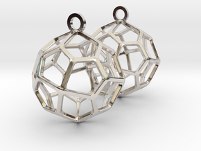Pentagonal Icositetrahedron Earrings in Rhodium Plated Brass