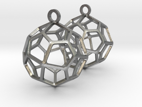 Pentagonal Icositetrahedron Earrings in Natural Silver