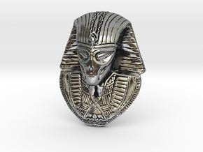 "Alien Gray Egyptian Pharaoh Head Pendant 1.5"" 38mm in Antique Silver"