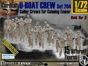 1/72 German U-Boot Crew Set204 in Smooth Fine Detail Plastic