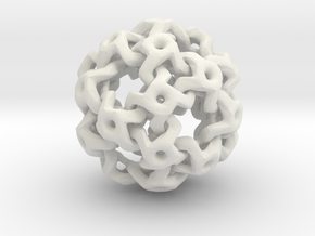 Nested Rhombic Triacontahedron  in White Natural Versatile Plastic