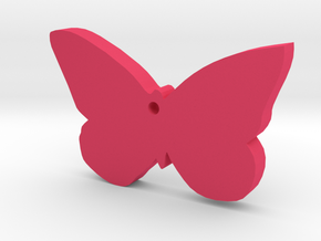 Butterfly Silhouette Keychain in Pink Processed Versatile Plastic