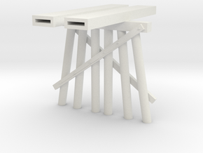 Part B Trestle N (1:160) Modular Six Piles in White Natural Versatile Plastic