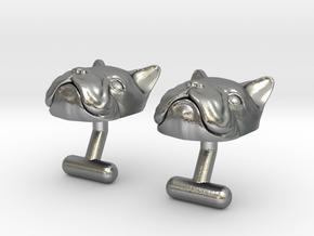 French Bulldog Cufflinks in Natural Silver