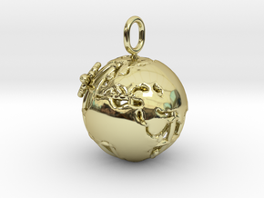 Earth Pendant in 18k Gold Plated Brass