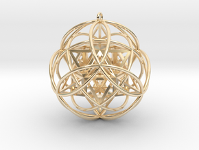 """Stellated Vector Equilibrium 9 Ring 2.5"""" Pendant  in 14K Yellow Gold"""