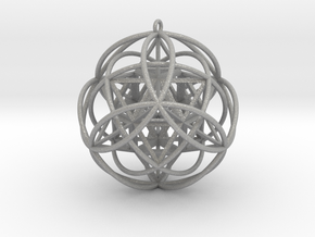 "Stellated Vector Equilibrium 9 Ring 2.5"" Pendant  in Aluminum"