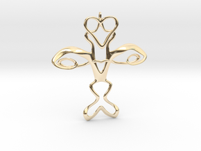 Cross in 14k Gold Plated Brass