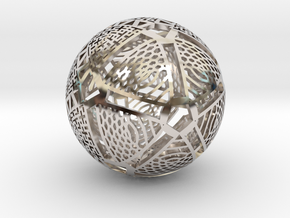 Icosahedron Projection on Sphere in Rhodium Plated Brass