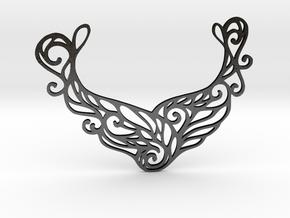 Butterfly pendant in Matte Black Steel: Large