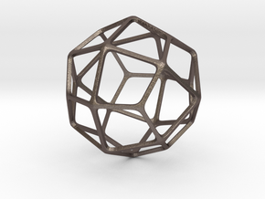 Deltoidal Icositetrahedron in Polished Bronzed-Silver Steel: Medium