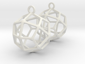 Deltoidal Icositetrahedron Earrings in White Natural Versatile Plastic