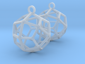 Deltoidal Icositetrahedron Earrings in Smooth Fine Detail Plastic