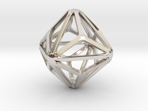 Triakis Octahedron in Rhodium Plated Brass: Small