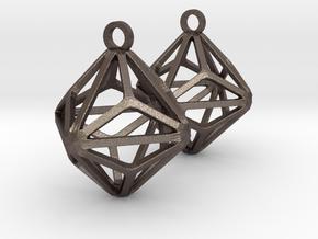 Triakis Octahedron Earrings in Polished Bronzed-Silver Steel