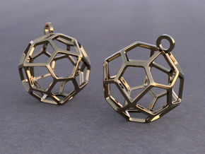 Pentagonal Icositetrahedron Earrings in Polished Bronze