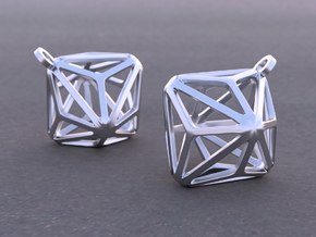 Triakis Octahedron Earrings in Rhodium Plated Brass