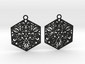 Ornamental earrings in Black Natural Versatile Plastic