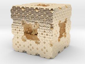 Menger Cube Fractal in 14K Yellow Gold