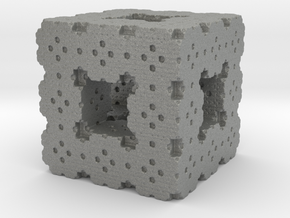 Menger Cube Fractal in Gray Professional Plastic