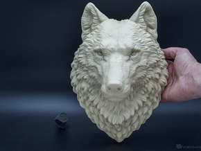 Proud Wolf Wall Mount in White Natural Versatile Plastic: Large