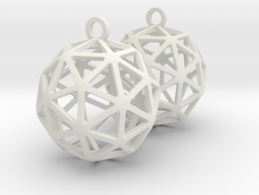 Pentakis Dodecahedron Earrings in White Natural Versatile Plastic