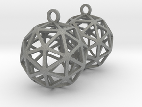 Pentakis Dodecahedron Earrings in Gray Professional Plastic
