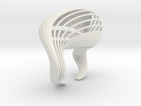 Liquid Tension Bangle - Surface - M in White Natural Versatile Plastic
