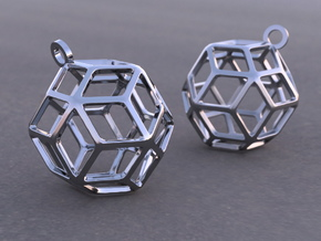 Rhombic Triacontahedron Earrings in Antique Silver