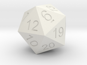 Giant 20 sided Dice Icosahedron in White Natural Versatile Plastic