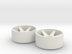 2x Llantas Mini-Z Delantera Offset 1 - 20mm in White Natural Versatile Plastic