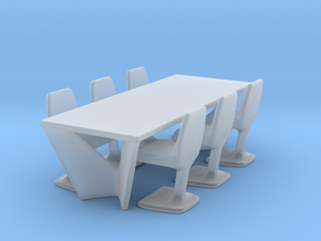 Miniature Suspens Dining Table With Arum Chair in Smooth Fine Detail Plastic: 1:24