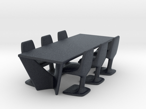 Miniature Suspens Dining Table With Arum Chair in Black PA12: 1:24