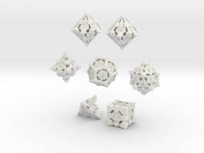 Fortress Dice Set with Decader  in White Natural Versatile Plastic