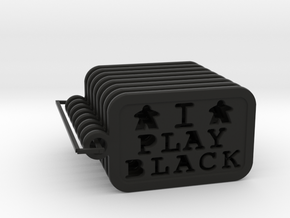 I PLAY BLACK - Meeple Keychain (8) in Black Natural Versatile Plastic