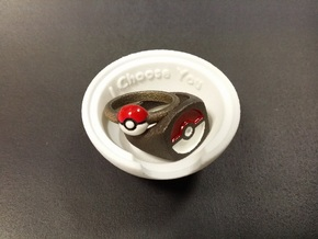 Pokeball Ring Box in White Strong & Flexible