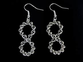 Infinity DNA Earrings in Polished Silver