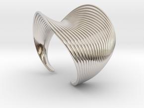 VEIN Cuff Bracelet in Rhodium Plated Brass: Small