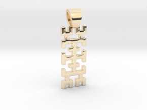 Hilbert curve [pendant] in 14k Gold Plated Brass