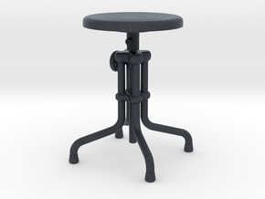 Miniature Isaac Counter Low Stool - Gramercy Home in Black Professional Plastic: 1:12