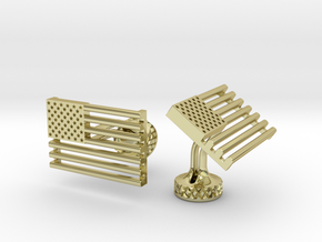 USA Flag Wedding Cufflinks. Old Glory Cufflinks in 18k Gold Plated Brass
