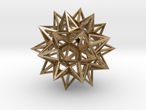 Stellated Truncated Icosahedron in Polished Gold Steel