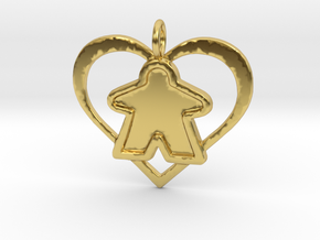 Meeple Pendant - Filled in Polished Brass