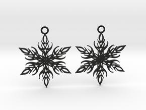 Snowflake earings in Black Natural Versatile Plastic