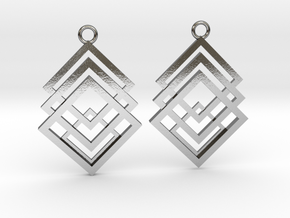 Geometrical earrings no.1 in Polished Silver: Small