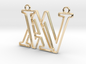 Monogram with initials A&W in 14k Gold Plated Brass