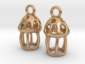 Tintinnid Dictyocysta Lepida Earrings in Natural Bronze