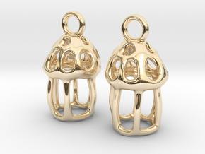 Tintinnid Dictyocysta Lepida Earrings in 14K Yellow Gold