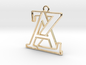 Monogram with initials A&Z in 14k Gold Plated Brass