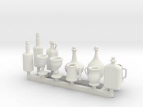 Tankards, Wine and Liquor bottle for 1/12 scale se in White Natural Versatile Plastic